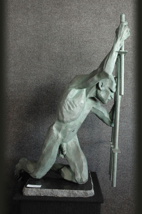 Genuflection to Longing bronze sculpture by David Varnau