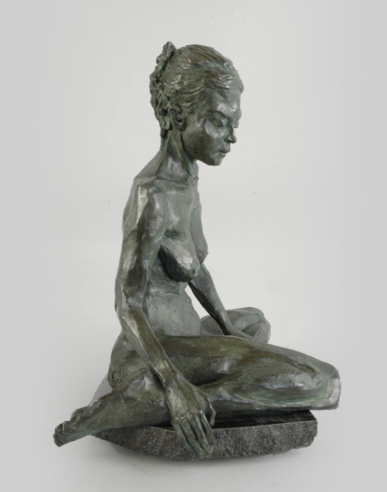Om Shanti bronze sculpture by David Varnau