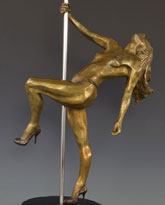Poledancer bronze sculpture by David Varnau