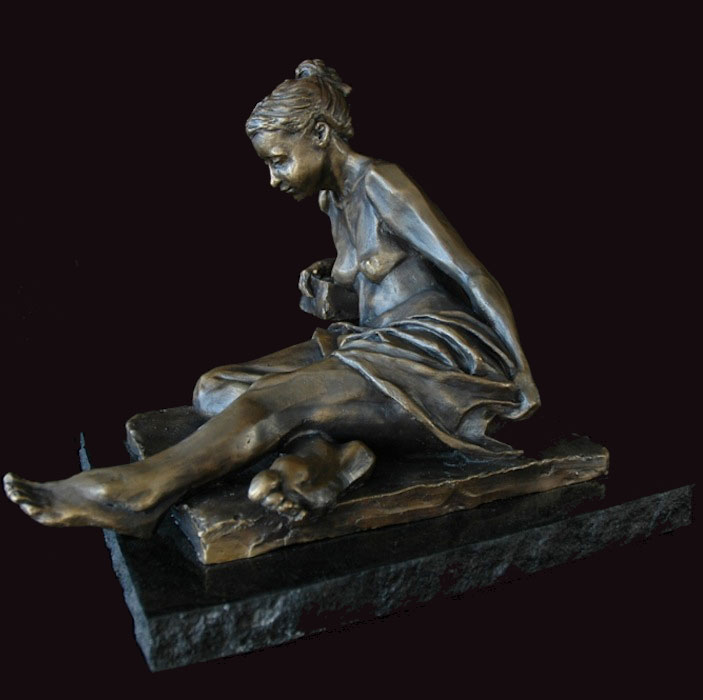 Reflection bronze sculpture by David Varnau
