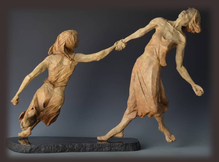 Wind Dancers bronze sculpture by David Varnau